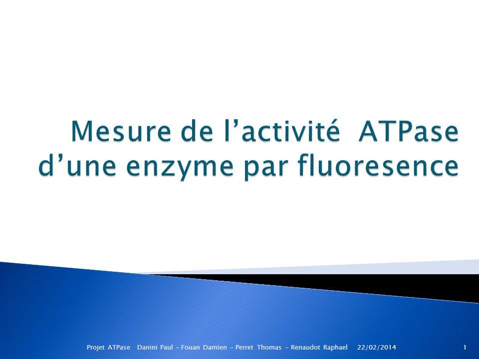 22/02/20141Projet ATPase Danini Paul - Fouan Damien - Perret Thomas - Renaudot Raphael