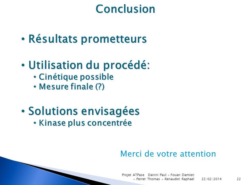 22/02/2014 Projet ATPase Danini Paul - Fouan Damien - Perret Thomas - Renaudot Raphael22 Conclusion Résultats prometteurs Résultats prometteurs Utilis