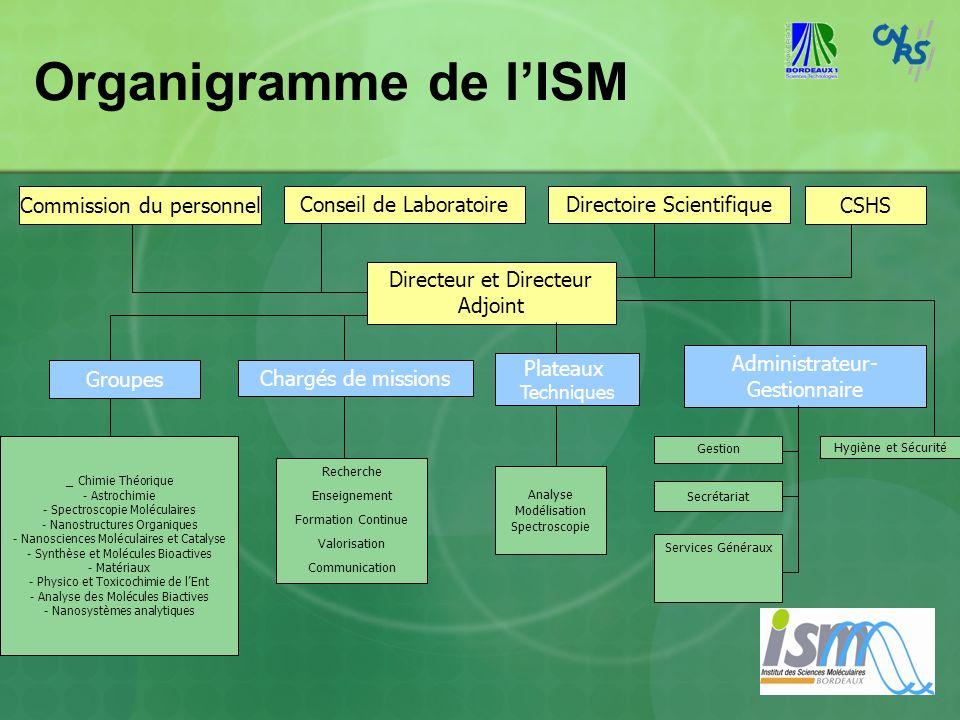 Organigramme de lISM Conseil de LaboratoireDirectoire Scientifique Directeur et Directeur Adjoint Recherche Enseignement Formation Continue Valorisati