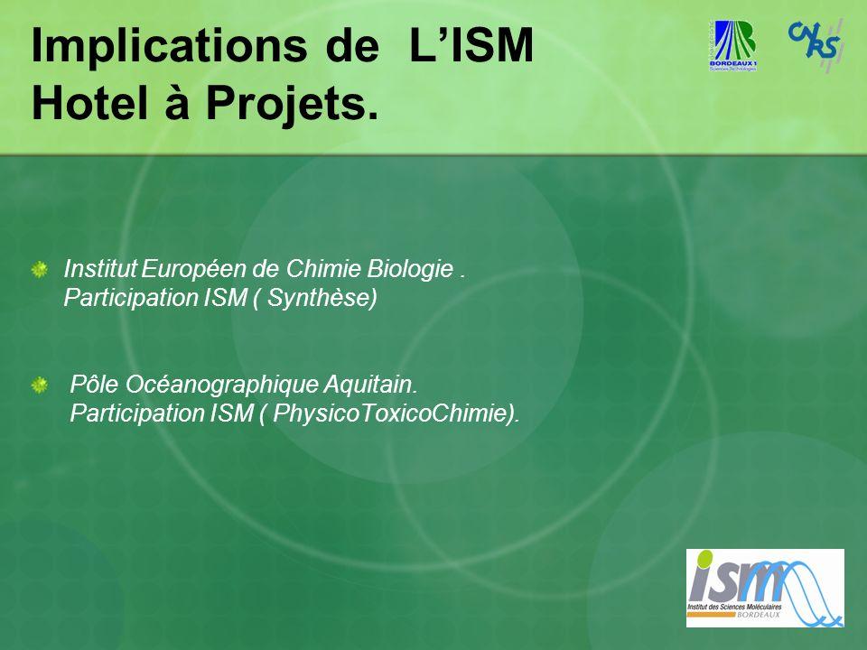 Implications de LISM Hotel à Projets. Institut Européen de Chimie Biologie. Participation ISM ( Synthèse) Pôle Océanographique Aquitain. Participation