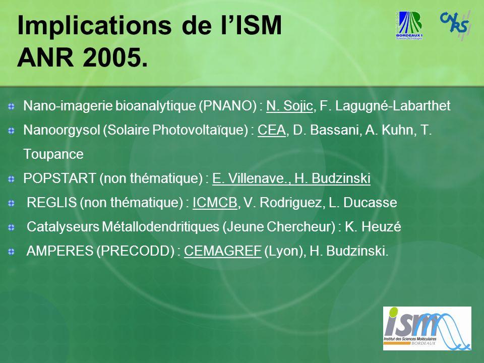 Implications de lISM ANR 2005. Nano-imagerie bioanalytique (PNANO) : N. Sojic, F. Lagugné-Labarthet Nanoorgysol (Solaire Photovoltaïque) : CEA, D. Bas