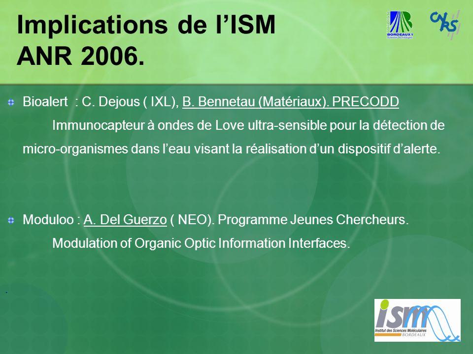 Implications de lISM ANR 2006. Bioalert : C. Dejous ( IXL), B. Bennetau (Matériaux). PRECODD Immunocapteur à ondes de Love ultra-sensible pour la déte
