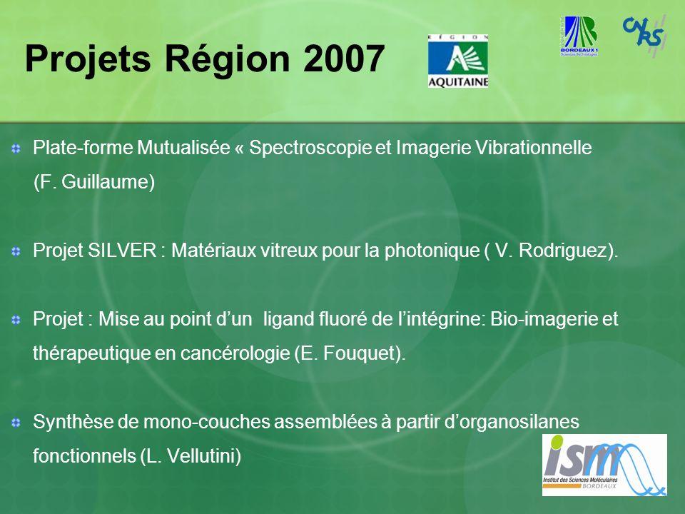 Projets Région 2007 Plate-forme Mutualisée « Spectroscopie et Imagerie Vibrationnelle (F. Guillaume) Projet SILVER : Matériaux vitreux pour la photoni