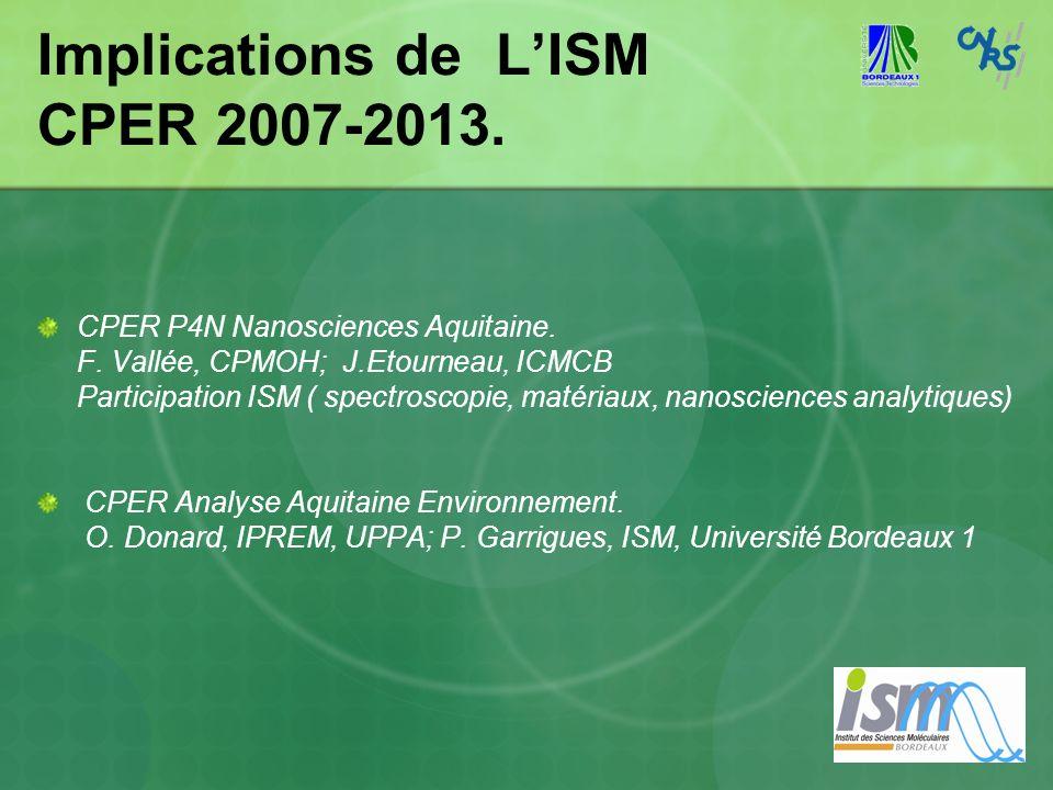 Implications de LISM CPER 2007-2013. CPER P4N Nanosciences Aquitaine. F. Vallée, CPMOH; J.Etourneau, ICMCB Participation ISM ( spectroscopie, matériau