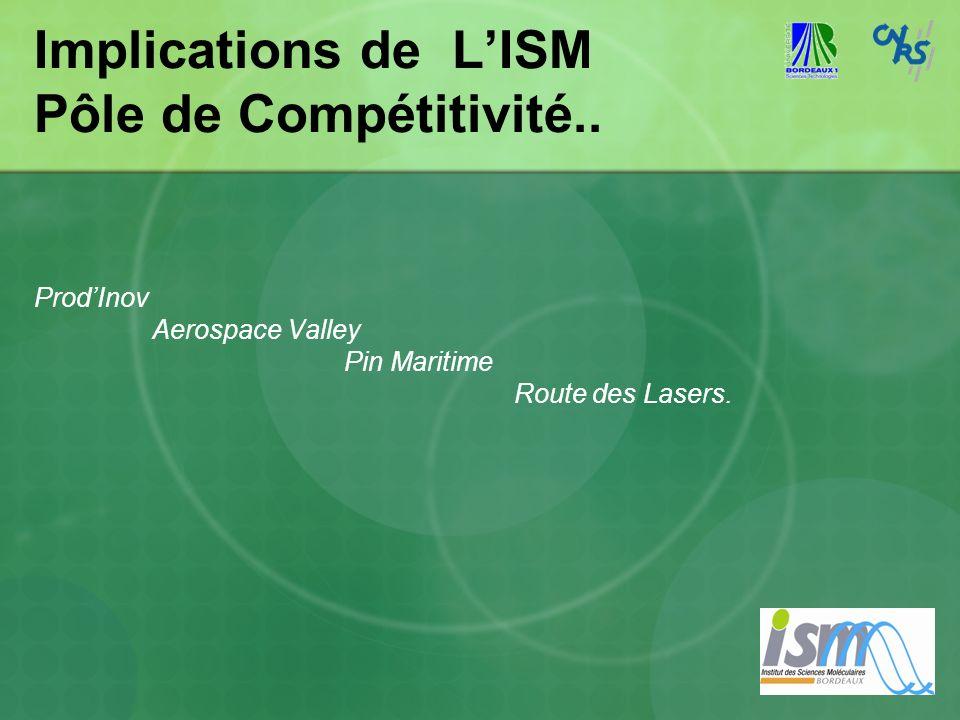 Implications de LISM Pôle de Compétitivité.. ProdInov Aerospace Valley Pin Maritime Route des Lasers.