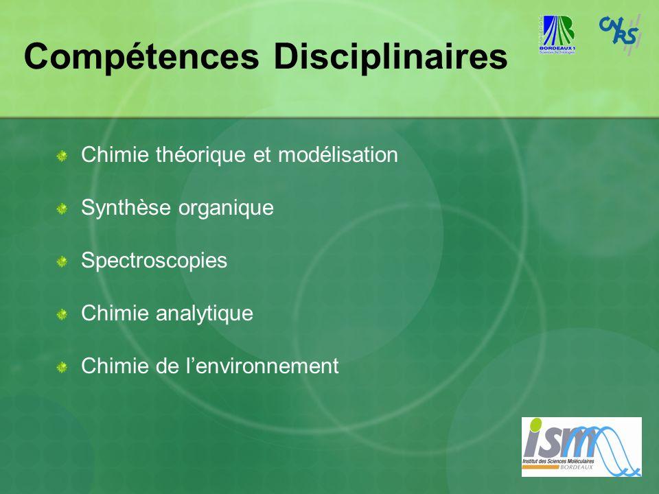 Compétences Disciplinaires Chimie théorique et modélisation Synthèse organique Spectroscopies Chimie analytique Chimie de lenvironnement