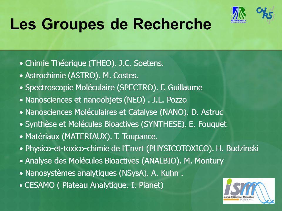 Les Groupes de Recherche Chimie Théorique (THEO). J.C. Soetens. Astrochimie (ASTRO). M. Costes. Spectroscopie Moléculaire (SPECTRO). F. Guillaume Nano