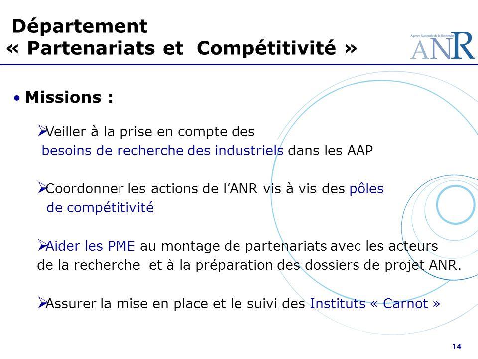 14 Département « Partenariats et Compétitivité » Missions : Veiller à la prise en compte des besoins de recherche des industriels dans les AAP Coordon