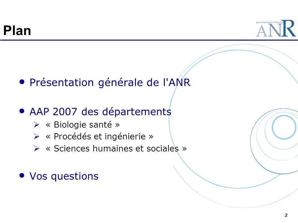 2 Plan Présentation générale de l'ANR AAP 2007 des départements « Biologie santé » « Procédés et ingénierie » « Sciences humaines et sociales » Vos qu