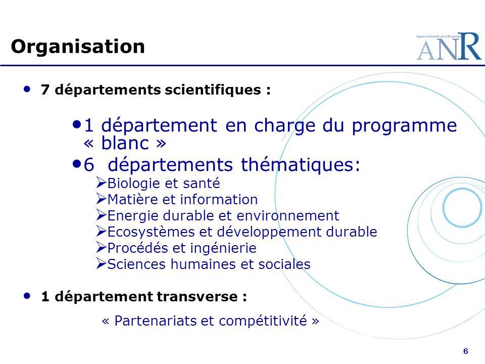 6 Organisation 7 départements scientifiques : 1 département en charge du programme « blanc » 6 départements thématiques: Biologie et santé Matière et