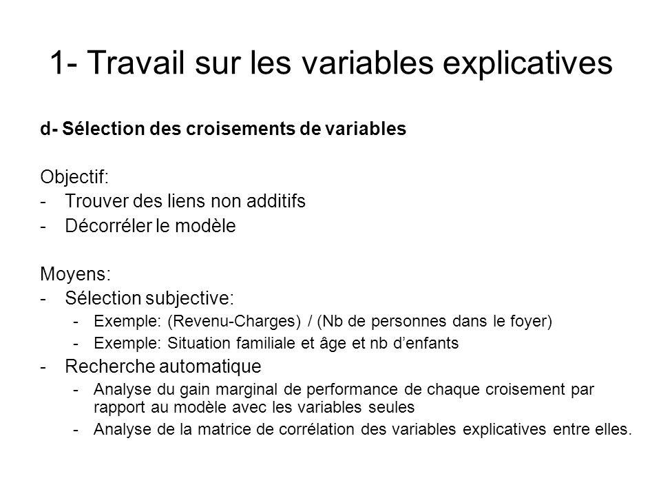 1- Travail sur les variables explicatives d- Sélection des croisements de variables Objectif: -Trouver des liens non additifs -Décorréler le modèle Mo