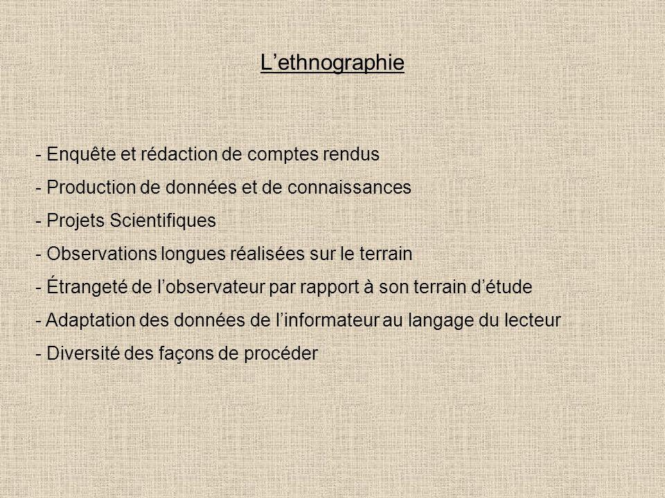 Lethnographie - Enquête et rédaction de comptes rendus - Production de données et de connaissances - Projets Scientifiques - Observations longues réal