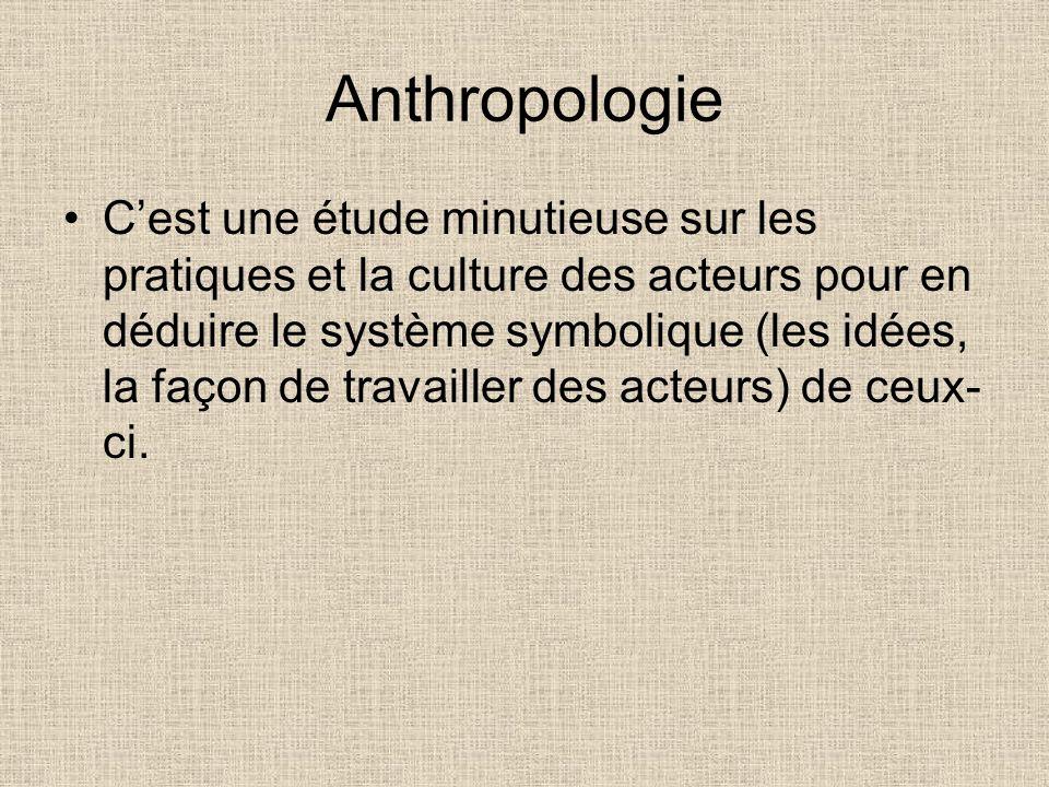 Anthropologie Cest une étude minutieuse sur les pratiques et la culture des acteurs pour en déduire le système symbolique (les idées, la façon de trav