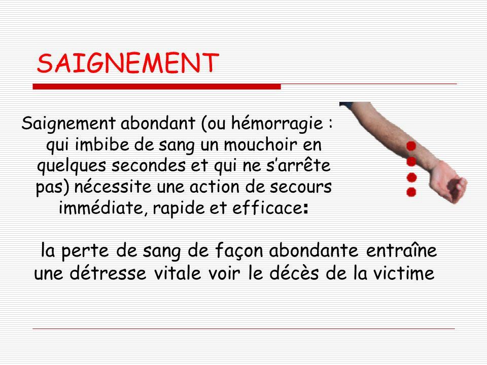 SAIGNEMENT Saignement abondant (ou hémorragie : qui imbibe de sang un mouchoir en quelques secondes et qui ne sarrête pas) nécessite une action de sec