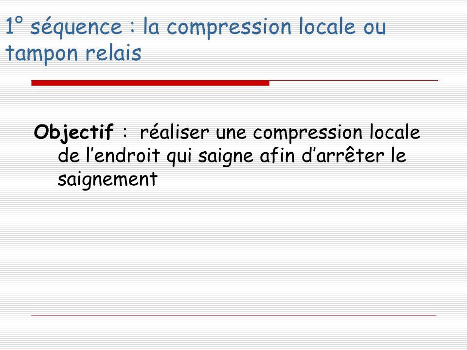 1° séquence : la compression locale ou tampon relais Objectif : réaliser une compression locale de lendroit qui saigne afin darrêter le saignement