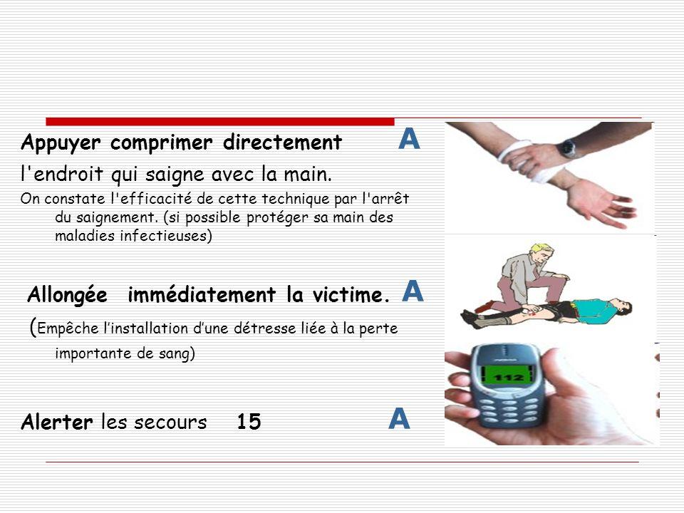 Appuyer comprimer directement A l'endroit qui saigne avec la main. On constate l'efficacité de cette technique par l'arrêt du saignement. (si possible