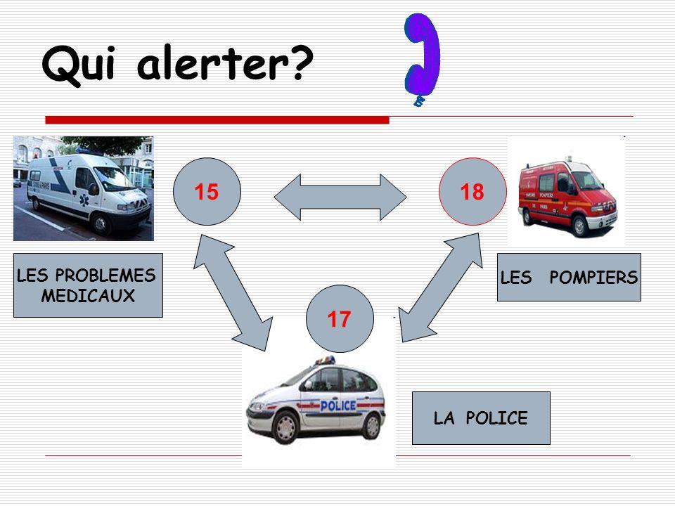 Qui alerter? LES PROBLEMES MEDICAUX LES POMPIERS 1815 LA POLICE 17
