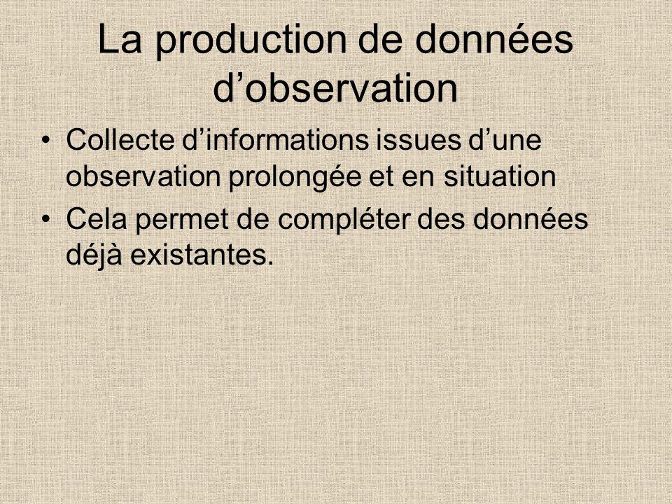 La production de données dobservation Collecte dinformations issues dune observation prolongée et en situation Cela permet de compléter des données dé