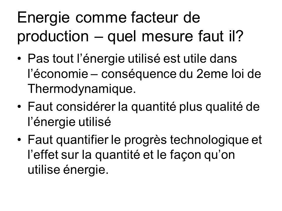 Energie comme facteur de production – quel mesure faut il.