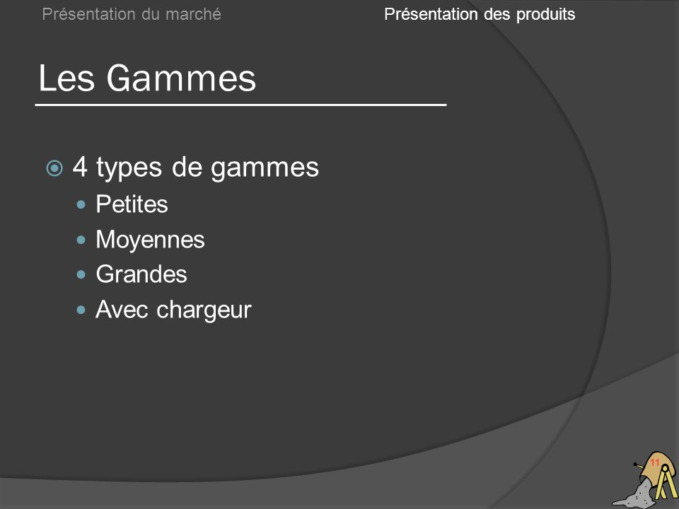 Les Gammes 11 Présentation du marché 4 types de gammes Petites Moyennes Grandes Avec chargeur Présentation des produits