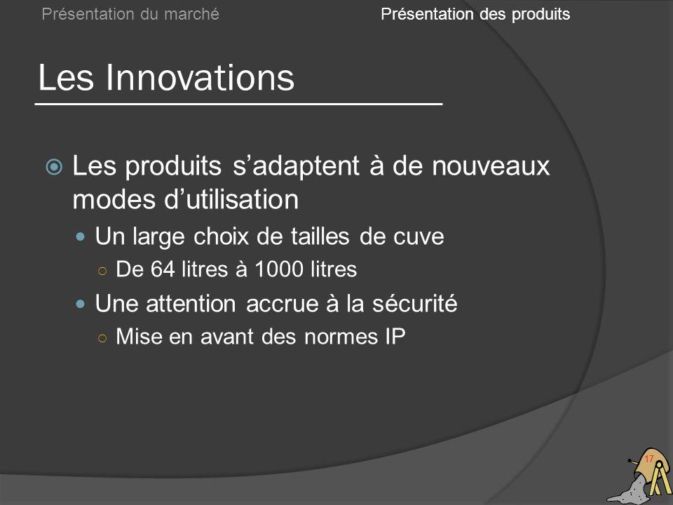 Les Innovations 17 Présentation du marché Les produits sadaptent à de nouveaux modes dutilisation Un large choix de tailles de cuve De 64 litres à 100