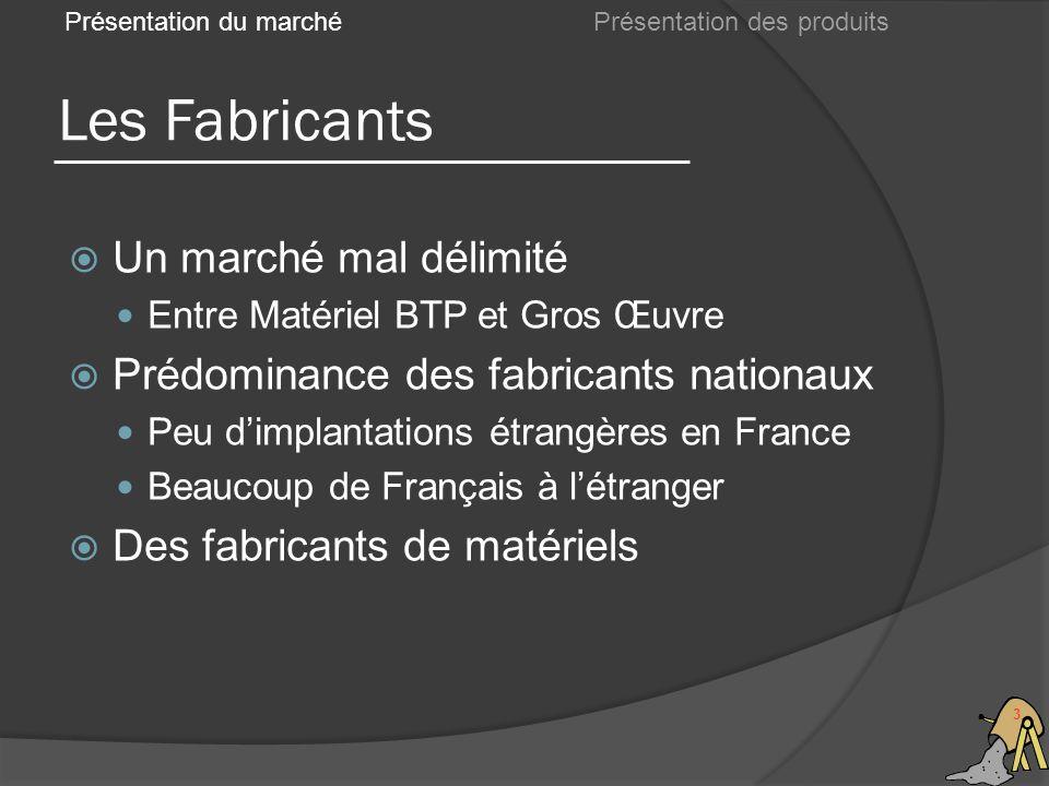 Les Fabricants 3 Un marché mal délimité Entre Matériel BTP et Gros Œuvre Prédominance des fabricants nationaux Peu dimplantations étrangères en France