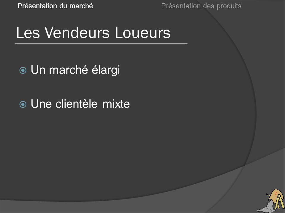 Les Vendeurs Loueurs 7 Présentation du marché Un marché élargi Une clientèle mixte Présentation des produits