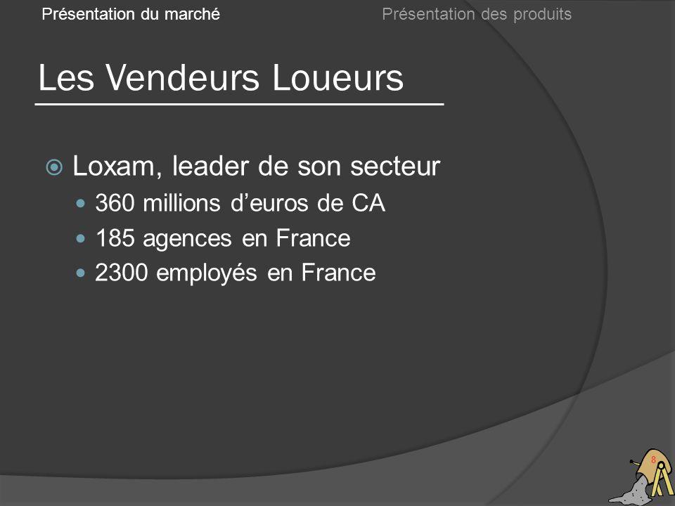 Les Vendeurs Loueurs 8 Présentation du marché Loxam, leader de son secteur 360 millions deuros de CA 185 agences en France 2300 employés en France Présentation des produits