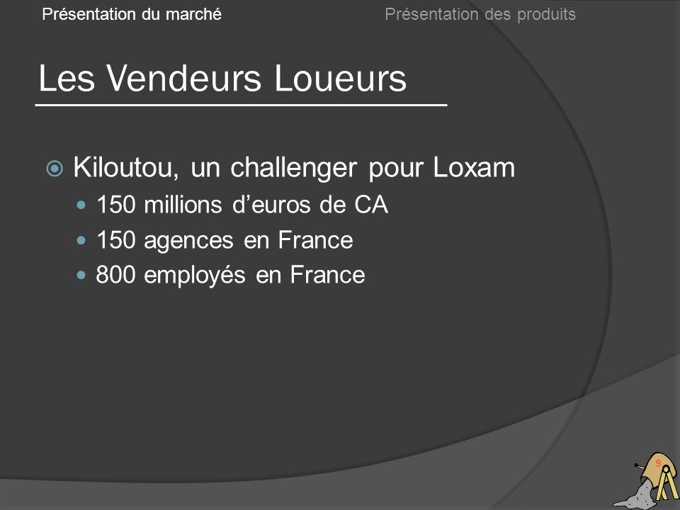 Les Vendeurs Loueurs 9 Présentation du marché Kiloutou, un challenger pour Loxam 150 millions deuros de CA 150 agences en France 800 employés en Franc