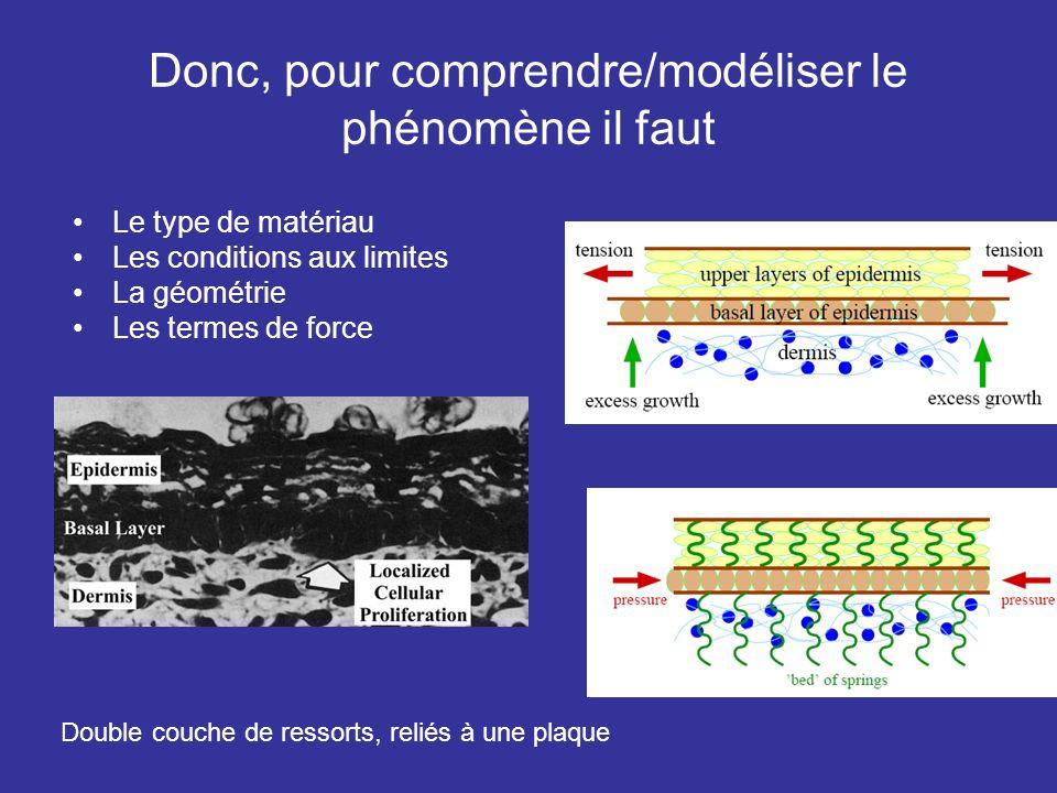 Donc, pour comprendre/modéliser le phénomène il faut Le type de matériau Les conditions aux limites La géométrie Les termes de force Double couche de