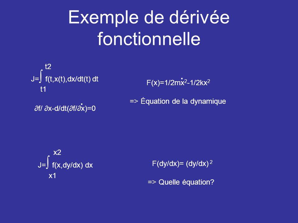 Exemple de dérivée fonctionnelle J= f(t,x(t),dx/dt(t) dt t1 t2 f/ x-d/dt(f/x)=0. F(x)=1/2mx 2 -1/2kx 2. => Équation de la dynamique F(dy/dx)= (dy/dx)