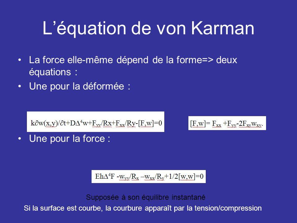 Léquation de von Karman La force elle-même dépend de la forme=> deux équations : Une pour la déformée : Une pour la force : Supposée à son équilibre i