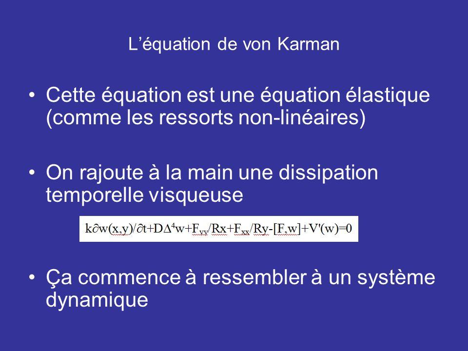 Léquation de von Karman Cette équation est une équation élastique (comme les ressorts non-linéaires) On rajoute à la main une dissipation temporelle v