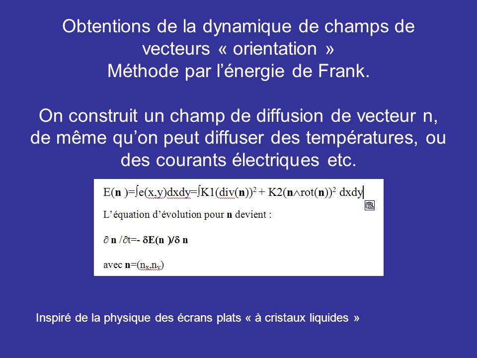Obtentions de la dynamique de champs de vecteurs « orientation » Méthode par lénergie de Frank. On construit un champ de diffusion de vecteur n, de mê