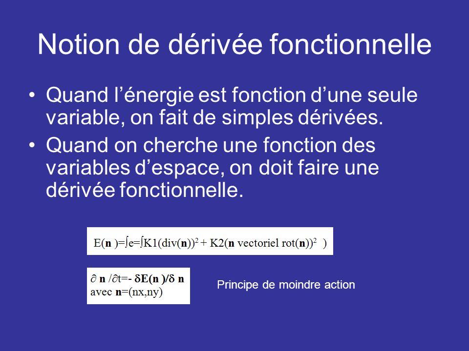 Notion de dérivée fonctionnelle Quand lénergie est fonction dune seule variable, on fait de simples dérivées. Quand on cherche une fonction des variab