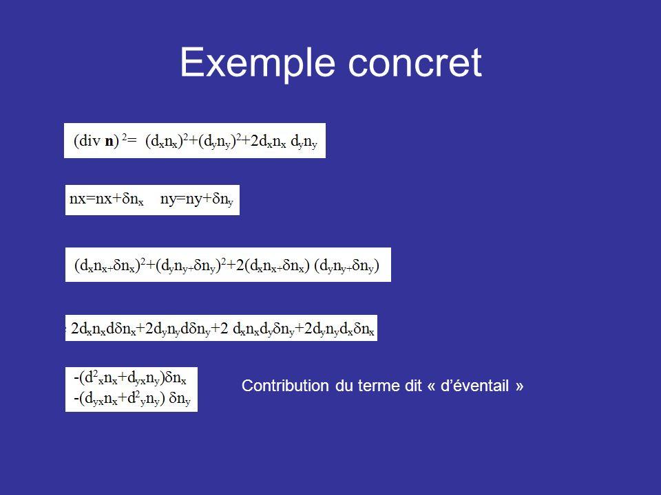 Exemple concret Contribution du terme dit « déventail »