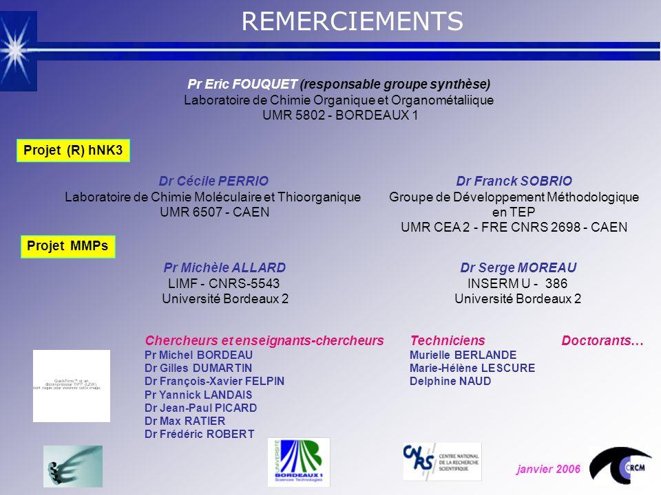 Dr Cécile PERRIO Laboratoire de Chimie Moléculaire et Thioorganique UMR 6507 - CAEN Dr Franck SOBRIO Groupe de Développement Méthodologique en TEP UMR CEA 2 - FRE CNRS 2698 - CAEN Pr Michèle ALLARD LIMF - CNRS-5543 Université Bordeaux 2 Dr Serge MOREAU INSERM U - 386 Université Bordeaux 2 REMERCIEMENTS Pr Eric FOUQUET (responsable groupe synthèse) Laboratoire de Chimie Organique et Organométaliique UMR 5802 - BORDEAUX 1 Projet (R) hNK3 Projet MMPs janvier 2006 Chercheurs et enseignants-chercheurs Pr Michel BORDEAU Dr Gilles DUMARTIN Dr François-Xavier FELPIN Pr Yannick LANDAIS Dr Jean-Paul PICARD Dr Max RATIER Dr Frédéric ROBERT Techniciens Murielle BERLANDE Marie-Hélène LESCURE Delphine NAUD Doctorants…