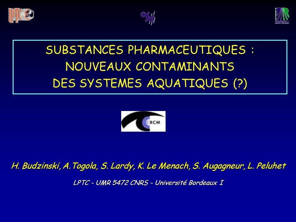 H. Budzinski, A.Togola, S. Lardy, K. Le Menach, S. Augagneur, L. Peluhet LPTC - UMR 5472 CNRS - Université Bordeaux I SUBSTANCES PHARMACEUTIQUES : NOU