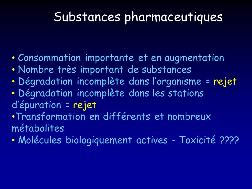 Consommation importante et en augmentation Nombre très important de substances Dégradation incomplète dans lorganisme = rejet Dégradation incomplète d
