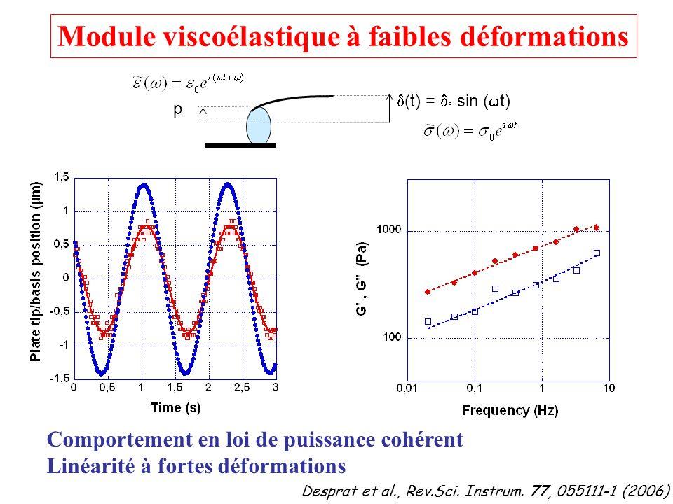 (t) = sin ( t) p Module viscoélastique à faibles déformations Comportement en loi de puissance cohérent Linéarité à fortes déformations Desprat et al.