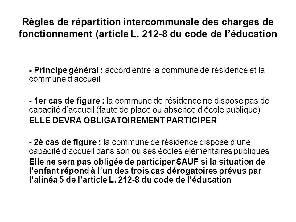 Règles de répartition intercommunale des charges de fonctionnement (article L. 212-8 du code de léducation - Principe général : accord entre la commun