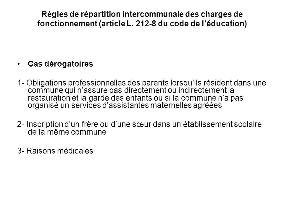 Règles de répartition intercommunale des charges de fonctionnement (article L. 212-8 du code de léducation) Cas dérogatoires 1- Obligations profession
