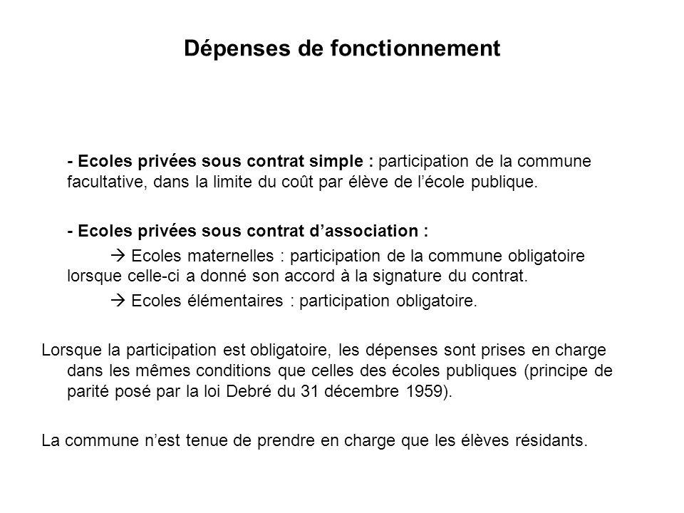 Dépenses de fonctionnement - Ecoles privées sous contrat simple : participation de la commune facultative, dans la limite du coût par élève de lécole