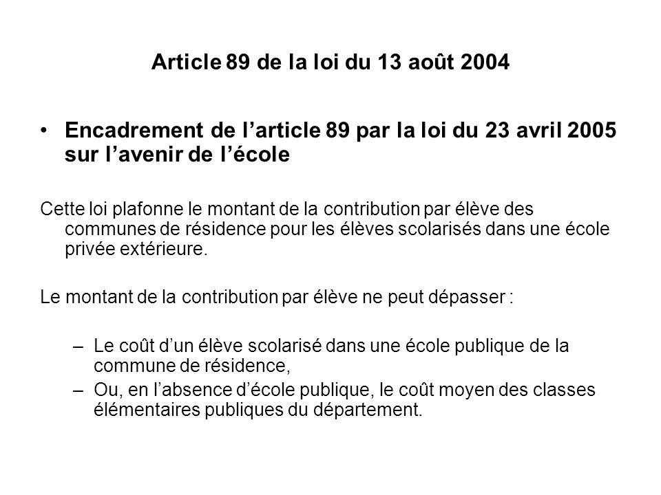 Article 89 de la loi du 13 août 2004 Encadrement de larticle 89 par la loi du 23 avril 2005 sur lavenir de lécole Cette loi plafonne le montant de la