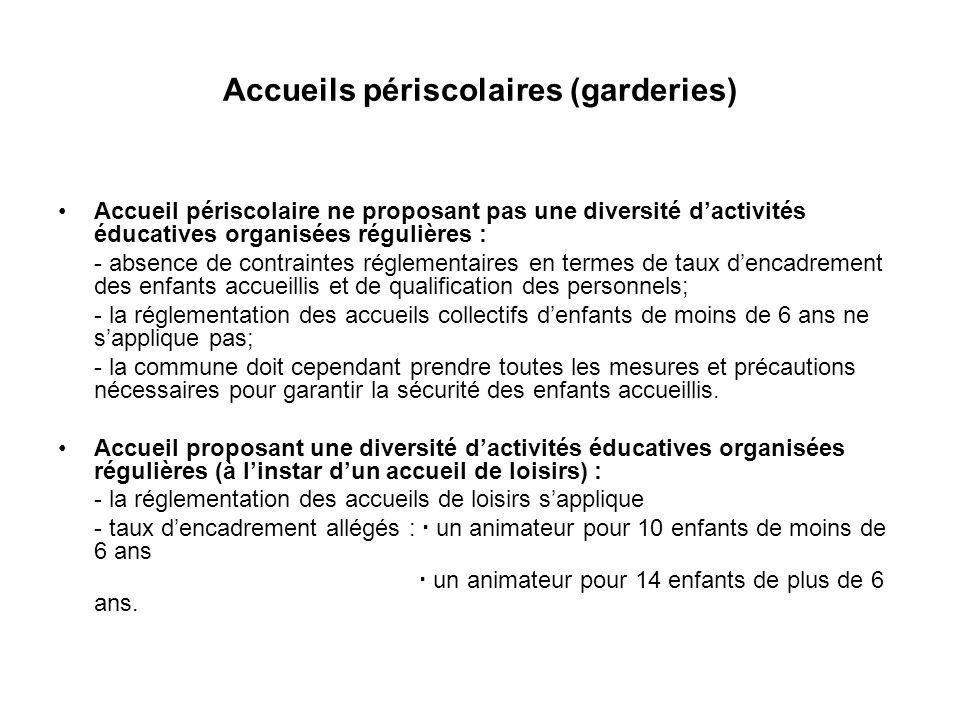 Accueils périscolaires (garderies) Accueil périscolaire ne proposant pas une diversité dactivités éducatives organisées régulières : - absence de cont
