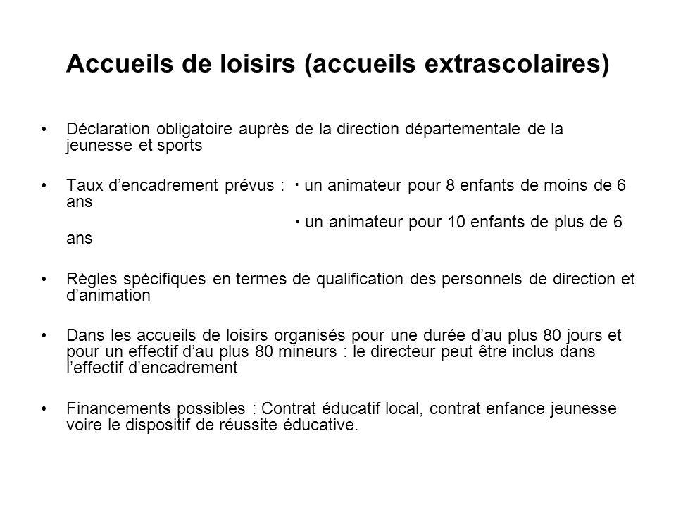 Accueils de loisirs (accueils extrascolaires) Déclaration obligatoire auprès de la direction départementale de la jeunesse et sports Taux dencadrement