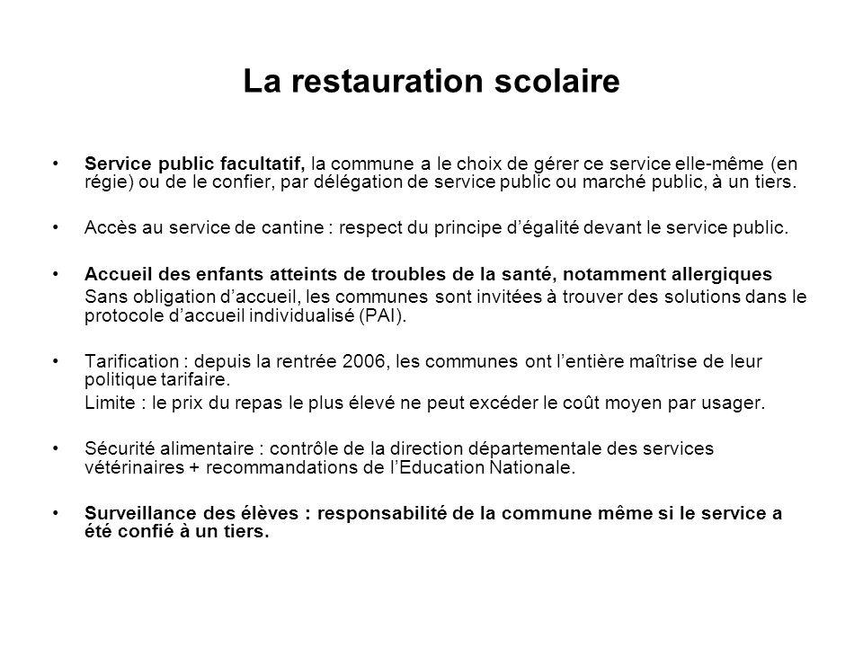 La restauration scolaire Service public facultatif, la commune a le choix de gérer ce service elle-même (en régie) ou de le confier, par délégation de
