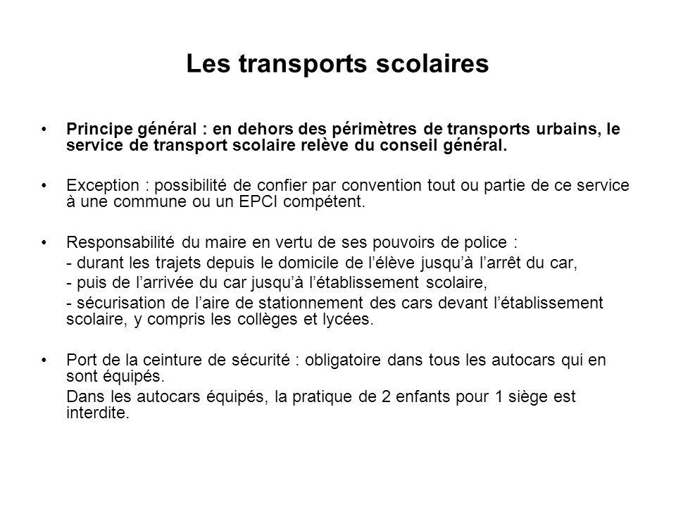 Les transports scolaires Principe général : en dehors des périmètres de transports urbains, le service de transport scolaire relève du conseil général