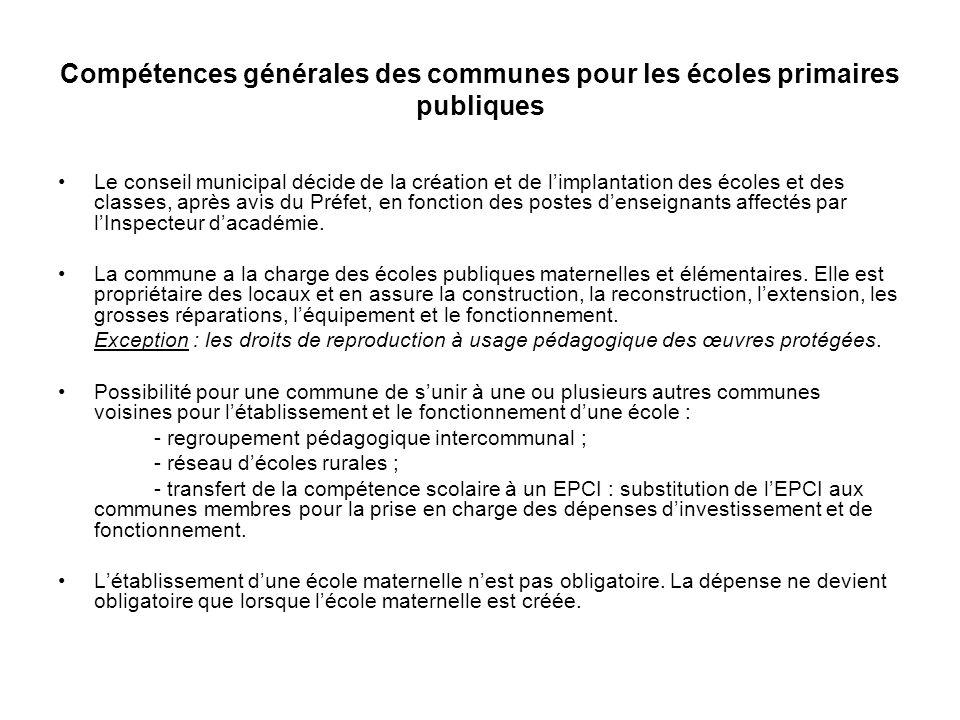Règles de répartition intercommunale des charges de fonctionnement (article L.