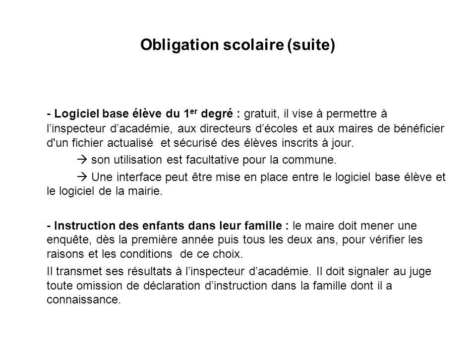 Obligation scolaire (suite) - Logiciel base élève du 1 er degré : gratuit, il vise à permettre à linspecteur dacadémie, aux directeurs décoles et aux